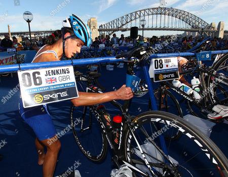Britain's Helen Jenkins enters the transition zone to start the bike leg of the elite women's race at the ITU World Triathlon Series in Sydney, Australia