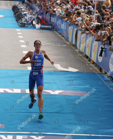 Britain's Helen Jenkins races to the line to finish second in the elite women at the ITU World Triathlon Series in Sydney, Australia