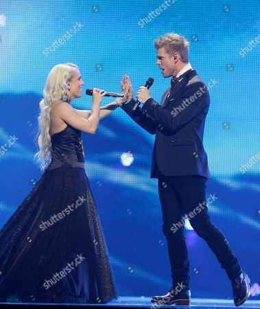 Iceland entrant Greta Salome, left, and Jonsi perform during rehearsals for the 2012 Eurovision Song Contest at the Baku Crystal Hall in Baku, Azerbaijan, . The finals of the 2012 Eurovision Song Contest will be held at the stadium on May 26, 2012