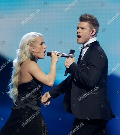 Iceland's Greta Salome, left, and Jonsi perform during the 1st semifinal 2012 Eurovision Song Contest at the Baku Crystal Hall in Baku, . The finals of the 2012 Eurovision Song Contest will be held at the stadium on May 26, 2012