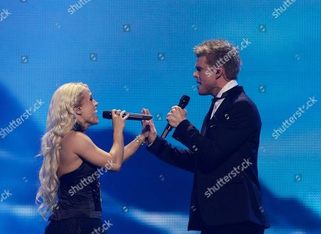 Iceland's Greta Salome and Jonsi perform during the final show of the 2012 Eurovision Song Contest at the Baku Crystal Hall in Baku