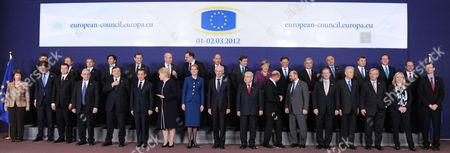 Catherine Ashton, Mark Rutte, Valdis Dombrovskis, Lucas Papademos, Jose Manuel Barroso, Nicolas Sarkozy, Dalia Grybauskaite, Helle Thorning-Schmidt, Herman Van Rompuy, Dimitris Christofias, Traian Basescu, Martin Schulz, Enda Kenny, Mario Monti, Jean-Cla EU heads of state pose for a group photo during an EU summit in Brussels, . From left to right, first row: EU foreign policy chief Catherine Ashton, Dutch Prime Minister Mark Rutte, Latvian Prime Minister Valdis Dombrovskis, Greek Prime Minister Lucas Papademos, European Commission President Jose Manuel Barroso, French President Nicolas Sarkozy, Lithuania's President Dalia Grybauskaite, Denmark's Prime Minister Helle Thorning-Schmidt, European Council President Herman Van Rompuy, Cypriot President Dimitris Christofias, Romania's President Traian Basescu, European Parliament President Martin Schulz, Irish Prime Minister Enda Kenny, Italy's Prime Minister Mario Monti, Luxembourg's Prime Minister Jean-Claude Juncker, Slovakia's Prime Minister Iveta Radicova, General Secretariat of the EU Council Uwe Corsepius. Second row, from left to right: Croatia's Prime Minister Zoran Milanovic, Poland's Prime Minister Donald Tusk, Hungarian Prime Minister Viktor Orban, Belgium's Prime Minister Elio Di Rupo, Spain's Prime Minister Mariano Rajoy, Swedish Prime Minister Fredrik Reinfeldt, Czech Republic's Prime Minister Petr Necas, Slovenia's Prime Minister Borut Pahor, Portugal's Prime Minister Pedro Passos Coelho, German Chancellor Angela Merkel, Finland's Prime Minister Mari Kiviniemi, Austrian Chancellor Werner Faymann, Bulgarian Prime Minister Boyko Borissov, Estonia's Prime Minister Andrus Ansip, British Prime Minister David Cameron, Malta's Prime Minister Lawrence Gonzi