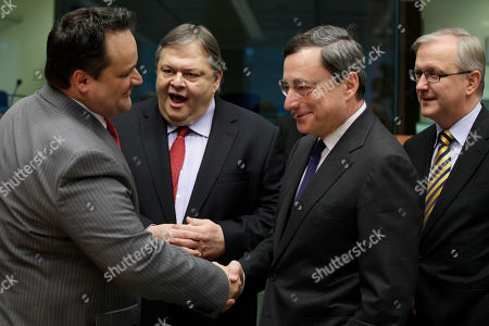 Evangelos Venizelos, Olli Rehn, Jan Kees De Jager, Mario Draghi From left, Dutch Finance Minister Jan Kees De Jager, Greek Finance Minister Evangelos Venizelos, European Central Bank President Mario Draghi and European Commissioner for the Economy Olli Rehn share a word during a meeting of eurozone finance ministers at the EU Council building in Brussels on . The 17 euro countries are trying to focus on issues beyond the Greek crisis and deal with longer-term issues in their currency union. Finance ministers, meeting in Brussels on Monday, will discuss Spain's high deficits and potentially dangerous imbalances in other countries