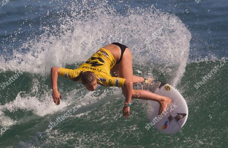 U.S.' Lakey Peterson competes in round one of the Billabong Rio Pro women's surfing competition in Rio de Janeiro, Brazil