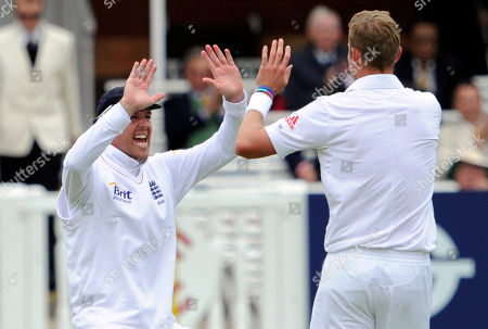 Graeme Swann, Stuart Broad England's Graeme Swann, left, congratulates Stuart Broad after he claims the wicket of West Indies' Adrian Barath during the 1st day of the first test match at Lord's cricket ground, London