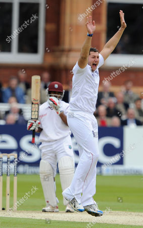 Tim Bresnan, Adrian Barath England's Tim Bresnan, right, appeals unsuccessfully for the wicket of West Indies' Adrian Barath, left, during the 1st day of the first test match at Lord's cricket ground, London