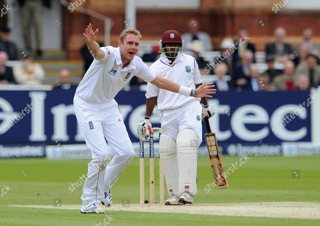 Stuart Broad, Adrian Barath England's Stuart Broad, left, appeals unsuccessfully for the wicket of West Indies' Adrian Barath during the 1st day of the first test match at Lord's cricket ground, London
