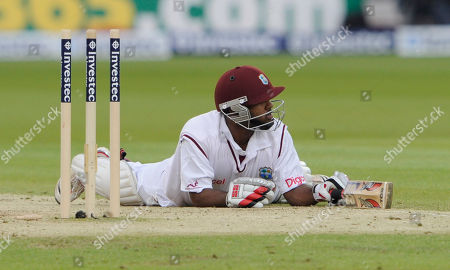 Adrian Barath West Indies' Adrian Barath survives a run out attempt during the 3rd day of the first test match against England at Lord's cricket ground, London