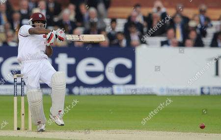 Adrian Barath West Indies' Adrian Barath hits a ball from England's Stuart Broad during the 3rd day of the first test match at Lord's cricket ground, London