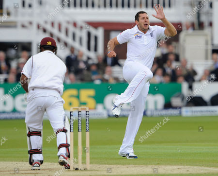 Adrian Barath, Tim Bresnan England's Tim Bresnan, right, celebrates after taking the wicket of West Indies Adrian Barath, left, during the 3rd day of the first test match at Lord's cricket ground, London