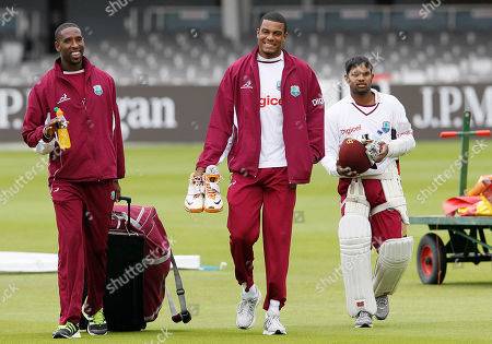 Shane Shillingford, Shannon Gabriel, Adrian Barath West Indies' players Shane Shillingford, left, Shannon Gabriel, centre, and Adrian Barath, right, arrive for a training session at Lord's cricket ground in London, . England will play West Indies in a test match at the ground starting Thursday