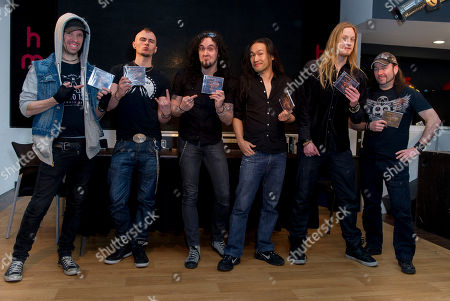 Sam Totman, Vadim Pruzhanov, Frédéric Leclercq, Herman Li, Marc Hudson, Dave Mackintosh, DragonForce Herman Li, Sam Totman, Vadim Pruzhanov, Dave Mackintosh, Frédéric Leclercq, and Marc Hudson, from British Rock group, DragonForce, pose for photographers at a Central London venue