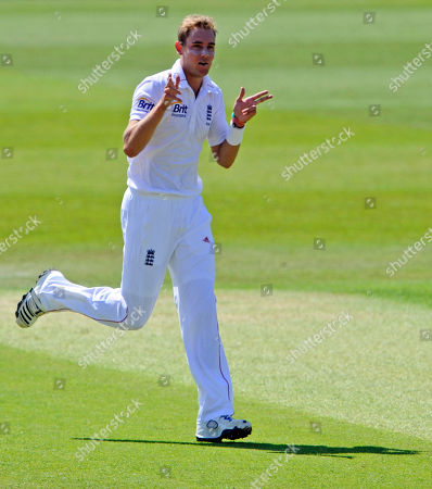 Stuart Broad England's Stuart Broad celebrates after he claims the wicket of West Indies' Adrian Barath during the first day of the 2nd Test match at the Trent Bridge cricket ground, Nottingham, England