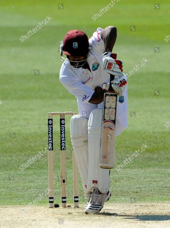 Adrian Barath West Indies' Adrian Barath is hit by a ball from England's James Anderson during the first day of the 2nd Test match at the Trent Bridge cricket ground, Nottingham, England