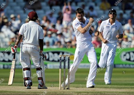 Adrian Barath, James Anderson England's James Anderson, center, claims the wicket of West Indies' Adrian Barath, left, during the third day of the 2nd Test match at the Trent Bridge cricket ground, Nottingham, England