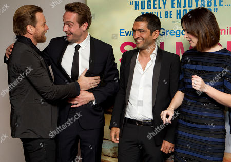 Ewan McGregor, Emily Blunt, Tom Mison, Amr Waked British actors Ewan McGregor greets Tom Mison as Egyptian actor Amr Waked and Emily Blunt look on as they arrive at the 'Salmon Fishing In The Yemen' European premiere at a west London cinema