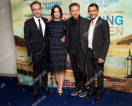 Ewan McGregor, Emily Blunt, Tom Mison, Amr Waked Actors Tom Mison, Amr Waked, Ewan McGregor and Emily Blunt, from left to right, arrive at the 'Salmon Fishing In The Yemen' European premiere at a west London cinema