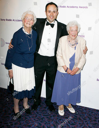 Stock Picture of Sony Radio Academy Awards Radio presenters Beryl Renwick producer David Reeve and Betty Smith arrive at the Sony Radio Academy Awards at the Grosvenor House in London