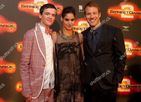 George Sampson, Sofia Boutella, Falk Hentschel British dancer and actor George Sampson, French actress Sofia Boutella and German actor Falk Hentschel arrive at World Premiere of Streetdance 2 at the O2 arena in London