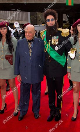 Sacha Baron Cohen, Admiral General Aladeen, Mohammed Al Fayed British actor Sacha Baron Cohen, right, who plays Admiral General Aladeen, and Egyptian businessman Mohammed Al Fayed arrive for the World Premiere of 'The Dictator', at a cinema in Soutbank in central London
