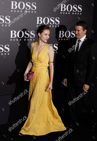 Stock Photo of Hong Kong model Mandy Lieu arrives for the Hugo Boss Black Fashion Show held in Beijing, China
