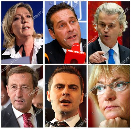 """S shows from left to right, on the top: Marine Le Pen of France's National Front; Heinz Christian Strache, head of Austria's right-wing Freedom Party or FPOE; Netherlands Freedom Party lawmaker Geert Wilders. And on the bottom from left to right are: Italian Lower Chamber President Gianfranco Fini, former head of the National Alliance and currently head of Italy's Future and Liberty Party; chairman of Hungary's """" For A Better Hungary Movement or Jobbik, Gabor Vona; and Pia Kjaersgaard head of the Danish People's Party"""