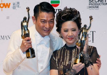 Andy Lau, Deanie Ip Hong Kong actors Andy Lau, left and Deanie Ip pose after winning the Best Actor and Best Actress awards for their role in the movie 'A Simple Life' at the 31st Hong Kong Film Awards in Hong Kong