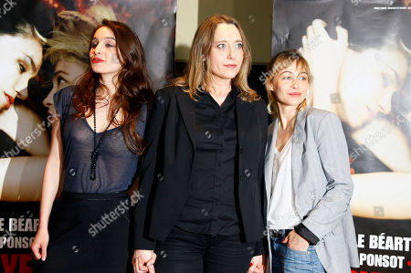 """Clara Ponsot, Virginie Despentes, Emmanuelle Beart Actress Clara Ponsot, French Director Virginie Despentes, and actress Emmanuelle Beart, from left to right, arrive for the screening of """"Bye Bye Blondie"""" by Director Virginie Despentes in Paris"""