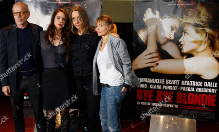 """Clara Ponsot, Virginie Despentes, Emmanuelle Beart, Pascal Greggory Actor Pascal Greggory, Actress Clara Ponsot, French Director Virginie Despentes, and actress Emmanuelle Beart, from left to right, arrive for the screening of """"Bye Bye Blondie"""" by Director Virginie Despentes in Paris"""
