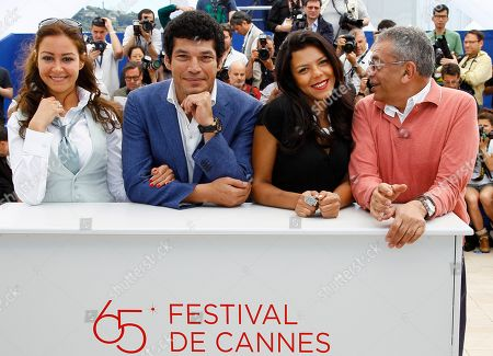 Menna Shalaby, Bassem Samra, Nahed El Sebai, Yousry Nasrallah From left, actors Menna Shalaby, Bassem Samra, Nahed El Sebai, and director Yousry Nasrallah pose during a photo call for After the Battle at the 65th international film festival, in Cannes, southern France
