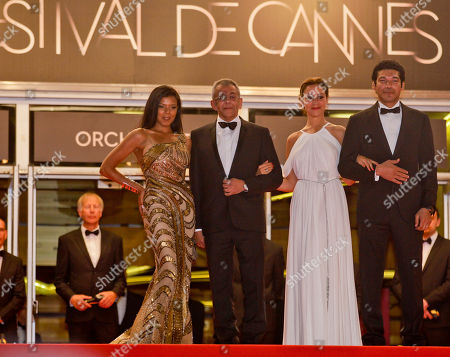Yousry Nasrallah, Nahed El Sebai, Menna Shalaby, Bassem Samra From left, actress Nahed El Sebai, director Yousry Nasrallah, actors Menna Shalaby and Bassem Samra arrive for the screening of After the Battle at the 65th international film festival, in Cannes, southern France