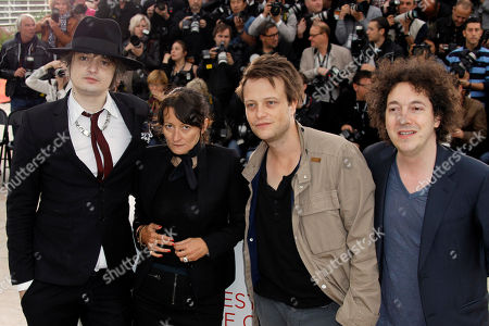 August Diehl, Guillaume Gallienne, Pete Doherty, Sylvie Verheyde Actor and musician Pete Doherty, left director Sylvie Verheyde, actor August Diehl and Guillaume Gallienne pose during a photo call for Confession of a Child of the Century at the 65th international film festival, in Cannes, southern France