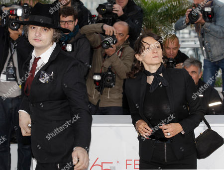 Pete Doherty, Sylvie Verheyde Actor Pete Doherty, left, and director Sylvie Verheyde pose during a photo call for Confession of a Child of the Century at the 65th international film festival, in Cannes, southern France