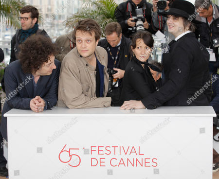 Giullaume Gallienne, August Diehl, Sylvie Verheyde, Pete Doherty From left actors Guillaume Gallienne, August Diehl, director Sylvie Verheyde and actor Pete Doherty pose during a photo call for Confession of a Child of the Century at the 65th international film festival, in Cannes, southern France