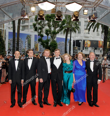 Sergei Loznitsa, Vladimir Svirski, Vlad Abashin, Sergei Kolesov From left, actors Sergei Kolesov, Vlad Abashin, Vladimir Svirski and director Sergei Loznitsa arrive for the screening of In The Fog at the 65th international film festival, in Cannes, southern France