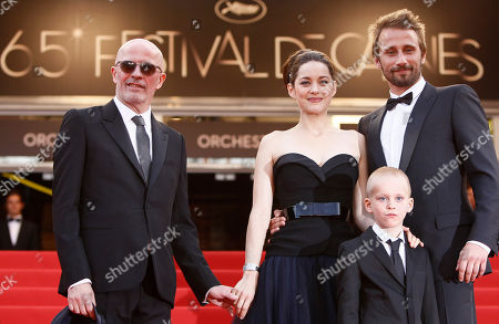 Marion Cotillard, Matthias Schoenaerts, Armand Verdure, Jacques Audiard From left director, Jacques Audiard, actors Marion Cotillard, Armand Verdure and Matthias Schoenaerts arrive for the screening of Rust and Bone at the 65th international film festival, in Cannes, southern France