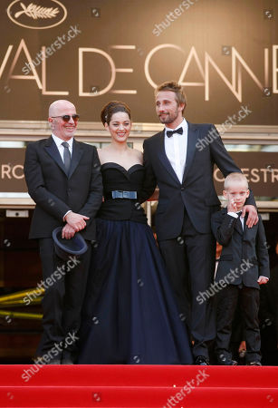 Jacques Audiard, Marion Cotillard, Matthias Schoenaerts, Armand Verdure From left, director Jacques Audiard, actors Marion Cotillard, Matthias Schoenaerts and Armand Verdure arrive for the screening of Rust and Bone at the 65th international film festival, in Cannes, southern France
