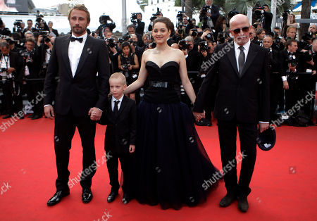 Jacques Audiard, Marion Cotillard, Matthias Schoenaerts, Armand Verdure From left actors, Matthias Schoenaerts, Armand Verdure, Marion Cotillard and director Jacques Audiard arrive for the screening of Rust and Bone at the 65th international film festival, in Cannes, southern France
