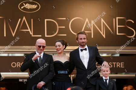 Jacques Audiard, Marion Cotillard, Matthias Schoenaerts, Armand Verdure Director Jacques Audiard, left, actors Marion Cotillard, Matthias Schoenaerts and Armand Verdure arrive for the screening of Rust and Bone at the 65th international film festival, in Cannes, southern France