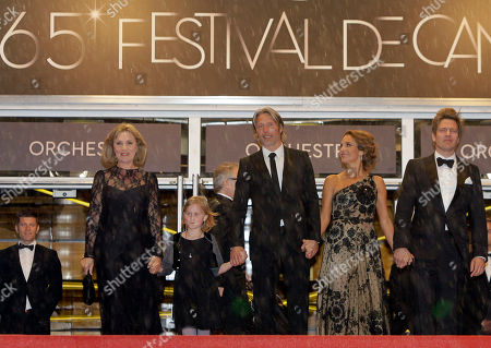 Susse Wold, Mads Mikkelsen, Annika Wedderkopp, Thomas Vinterberg, Alexandra Rapaport From second left, actors Susse Wold, Annika Wedderkopp, Mads Mikkelsen, Alexandra Rapaport and director Thomas Vinterberg arrive for the screening of The Hunt at the 65th international film festival, in Cannes, southern France