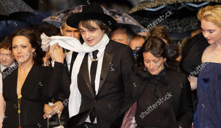 Sylvie Verheyde, Pete Doherty, Karole Rocher, Karole Rocher Actors Karole Rocher, left, Pete Doherty, director Sylvie Verheyde and model Lily Cole arrive for the screening of The Hunt at the 65th international film festival, in Cannes, southern France