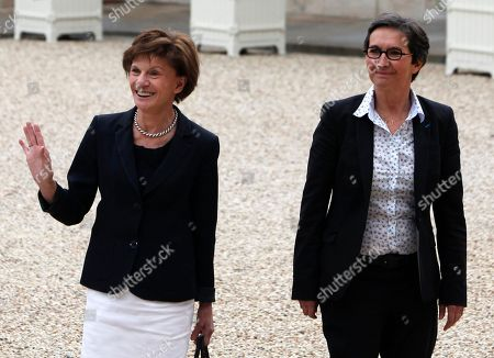 Michele Delaunay, Valerie Fourneyron Newly named Sports Minister Valerie Fourneyron, right, and Seniors and Disabled people Minister Michele Delaunay arrive for the first weekly cabinet meeting with new President Francois Hollande, at the Elysee Palace in Paris