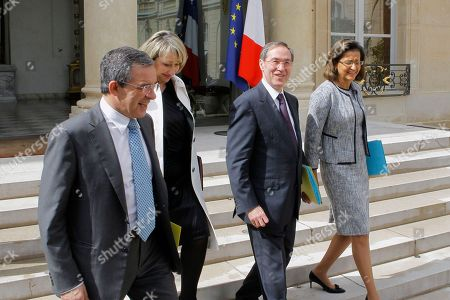 French Interior Minister Claude Gueant, 2nd rigth, leaves with his ministers, form left, secretary of state for transport Thierry Mariani, Social Cohesion Junior Minister, Marie-Anne Montchamp,Overseas Minister Marie-Luce Penchard,after his last weekly cabinet meeting as President Nicolas sarkozy was holding his final Cabinet meeting in Elysee Palace, Paris, . Outgoing President Sarkozy is to turn over power to President-elect Francois Hollande on May 15 after 5 years in office