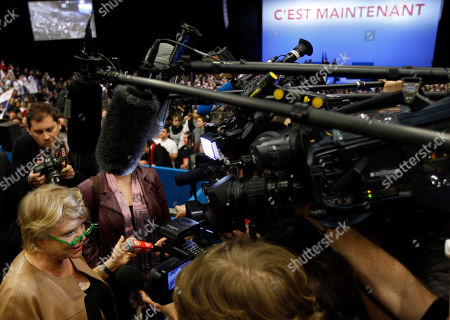 Former French Green Party candidate for the 2012 presidential elections Eva Joly answers the reporters as she attends the meeting of French Socialist Party candidate for the 2012 presidential elections Francois Hollande in Limoges, central France, as part of his campaign for the second round of the French presidential elections on May 6, 2012