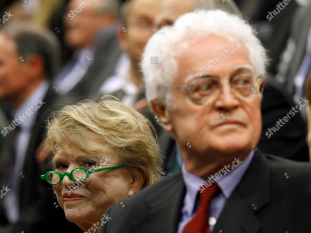 Former French Green Party candidate for the 2012 presidential elections Eva Joly, left, and former French socialist prime minister Lionel Jospin attend the meeting of French Socialist Party candidate for the 2012 presidential elections Francois Hollande in Limoges, central France, as part of his campaign for the second round of the French presidential elections on May 6, 2012