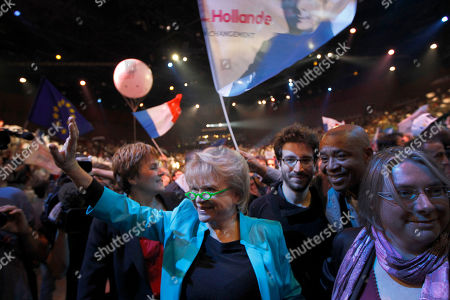 Stock Image of Former French Green Party candidate for the 2012 presidential elections Eva Joly arrives to attend the meeting of French Socialist Party candidate for the 2012 presidential elections Francois Hollande in Paris, as part of his campaign for the second round of the French presidential elections on May 6, 2012