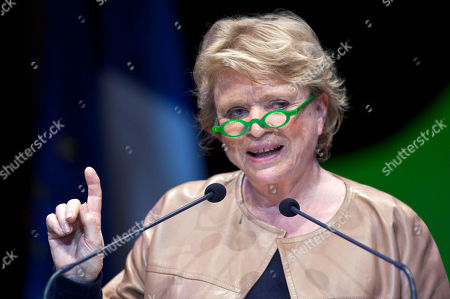 Environmentalist candidate for the French presidential election Eva Joly gestures as she delivers a speech during a campaign rally, in Paris