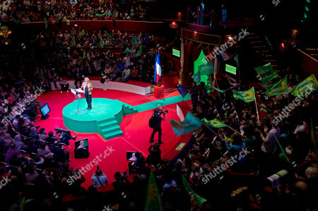 Environmentalist candidate for the French presidential election Eva Joly, left, delivers a speech during a campaign rally, in Paris