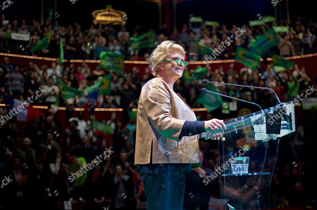 Environmentalist candidate for the French presidential election Eva Joly delivers a speech during a campaign rally, in Paris
