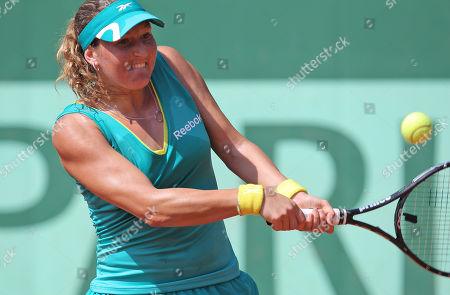 Shahar Peer of Israel returns against Canada's Stephanie Dubois in the first round match at the French Open tennis tournament in Roland Garros stadium in Paris